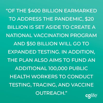 Of the $400 billion earmarked to address the pandemic, $20 billion is set aside to create a national vaccination program and $50 billion will go to expanded testing.